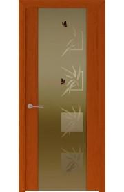 Двери Океан Шторм 3 Красное дерево Стекло тонированное Бабочки