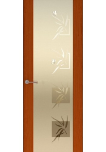 Двери Океан Шторм 3 Красное дерево Стекло белое Бабочки