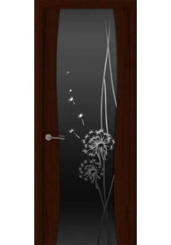 Двери Океан Шторм 3 Ясень винтаж Стекло черное Одуванчик