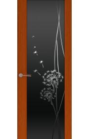 Двери Океан Шторм 3 Красное дерево Стекло черное Одуванчик