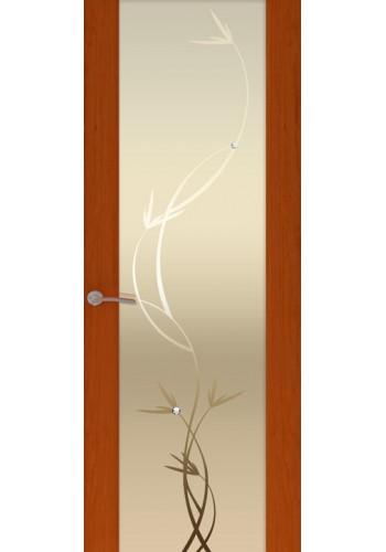 Двери Океан Шторм 3 Красное дерево Стекло белое Растение