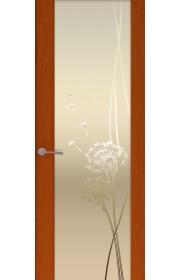 Двери Океан Шторм 3 Красное дерево Стекло белое Одуванчик