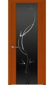 Двери Океан Шторм 3 Красное дерево Стекло черное Растение