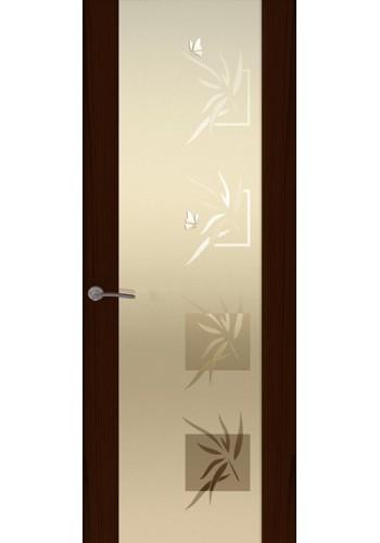 Двери Океан Шторм 3 Ясень винтаж Стекло белое Бабочки