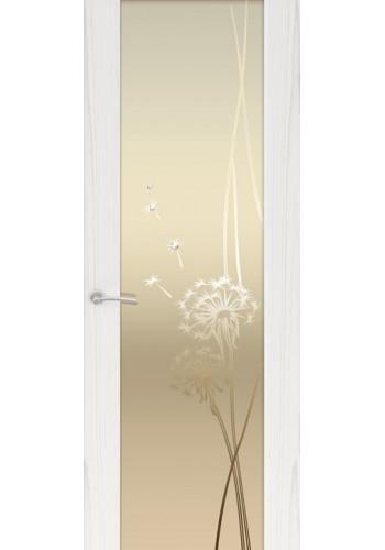 Двери Океан Шторм 3 Ясень белый жемчуг Стекло белое Одуванчик