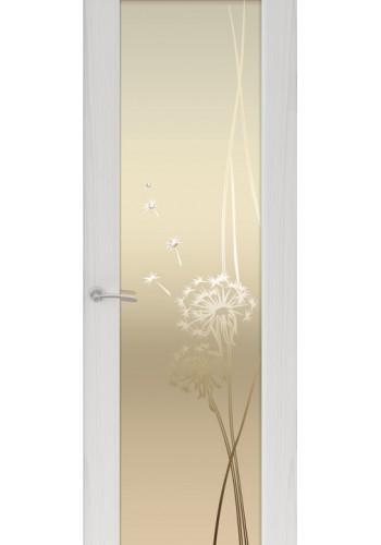 Двери Океан Шторм 3 Ясень серый Стекло белое Одуванчик