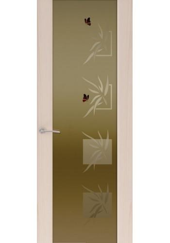 Двери Океан Шторм 3 Ясень капучино Стекло тонированное Бабочки