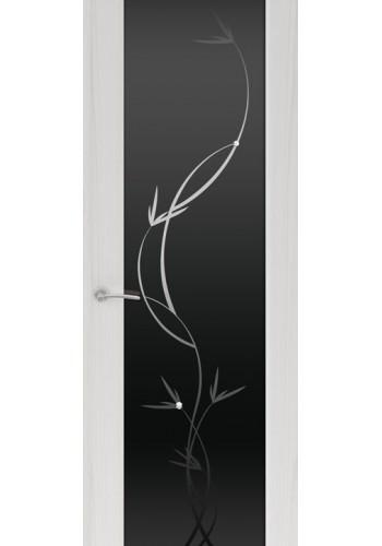 Двери Океан Шторм 3 Ясень серый Стекло черное Растение