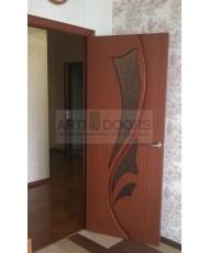 Фото установленной Дверь Крона Карат Орех ДГ