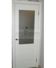 Фото установленной Дверь Профиль Дорс 49X Эш Вайт Мелинга Стекло Черный Триплекс