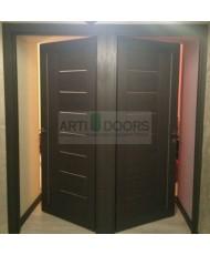 Фото установленной Двери Профиль Дорс 75U Магнолия Сатинат Стекло Черный лак