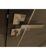 Фото установленной Дверь Профиль Дорс 61X Эш Вайт Мелинга Стекло Черный Триплекс