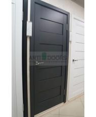 Фото установленной Двери Профиль Дорс 11U Темно-коричневый Стекло Белый Триплекс