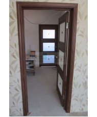 Фото установленной Двери Профиль Дорс 43U Магнолия Сатинат Стекло Графит