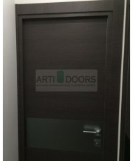 Фото установленной Дверь Профиль Дорс 6D Черная Волна Стекло Коричневый Лак