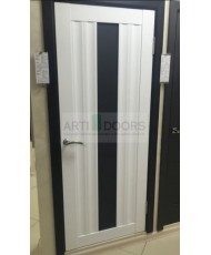 Фото установленной Дверь Профиль Дорс 46X Капучино Мелинга Стекло Графит