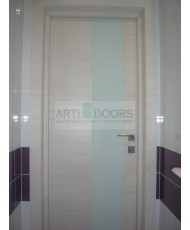Фото установленной Дверь Профиль Дорс 4D Беленый Дуб Браш Стекло Черный Лак