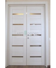 Фото установленной Двери Профиль Дорс 13U Черный матовый Стекло Графит