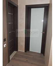 Фото установленной Дверь Профиль Дорс 51X Малага Черри Кроскут Стекло Графит