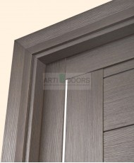 Фото установленной Двери Статус 121 Дуб винтаж стекло Канны