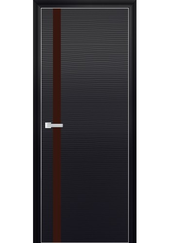 Дверь Профиль Дорс 6D Черная Волна Стекло Коричневый Лак