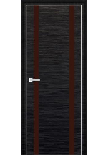Дверь Профиль Дорс 9D Черный Браш Стекло Коричневый Лак