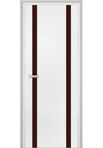 Дверь Профиль Дорс 9D Белая Волна Стекло Коричневый Лак