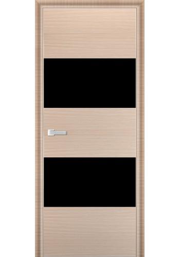 Дверь Профиль Дорс 10D Капучино Браш Стекло Черный Лак
