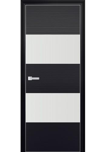 Дверь Профиль Дорс 10D Черная Волна Стекло Белый Лак