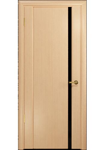 Дверь Арт Деко Спациа 1 беленый дуб ДО черный триплекс