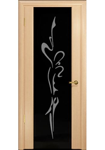 Дверь Арт Деко Спациа 3 Беленый дуб черный триплекс Балерина