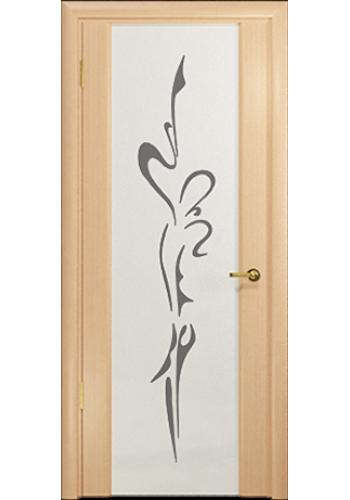 Дверь Арт Деко Спациа 3 Беленый дуб Светлый триплекс Балерина