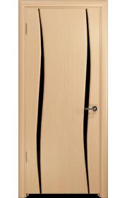 Дверь Арт Деко Вэла 2 беленый дуб ДО черный триплекс