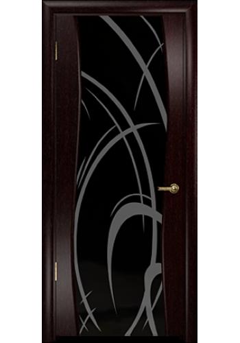 Дверь Арт Деко Вэла венге ДО черный триплекс рисунок