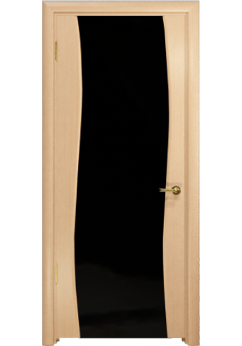 Дверь Арт Деко Вэла беленый дуб ДО черный триплекс