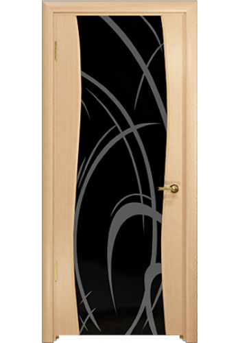 Дверь Арт Деко Вэла беленый дуб ДО черный триплекс рисунок