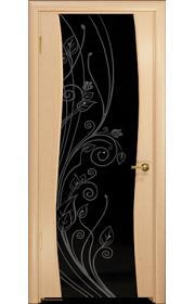 Дверь Арт Деко Вэла беленый дуб ДО черный триплекс стразы