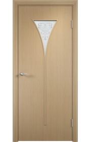 Двери Верда С-04 Беленый дуб Художественное остекление