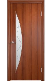 Дверь Верда С-06 Итальянский орех Стекло с рисунком