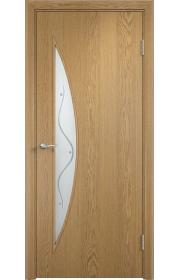 Двери Верда С-06 Светлый дуб Стекло Сатинато с фьюзингом