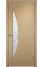 Двери Верда С-06 Беленый дуб Стекло Сатинато с фьюзингом