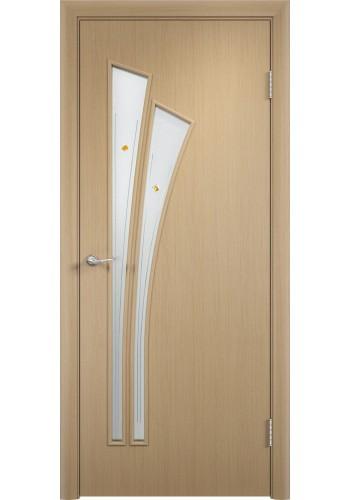 Двери Верда С-07 Беленый дуб Стекло Сатинато с фьюзингом