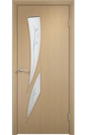 Двери Верда С-02 Беленый дуб Стекло Сатинато с фьюзингом