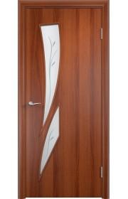 Двери Верда С-02 Итальянский орех Стекло Сатинато с фьюзингом