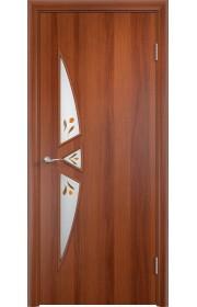 Двери Верда С-01 Итальянский орех Стекло Сатинато с фьюзингом