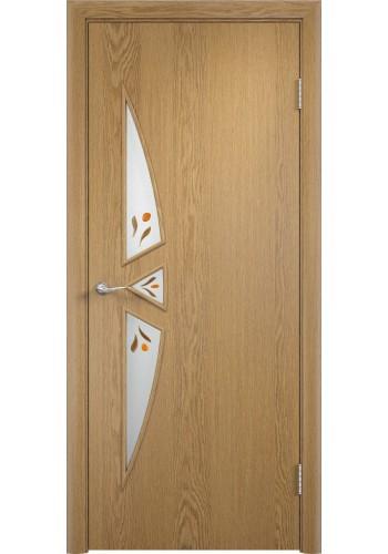 Двери Верда С-01 Светлый дуб Стекло Сатинато с фьюзингом