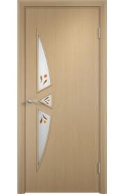 Двери Верда С-01 Беленый дуб Стекло Сатинато с фьюзингом