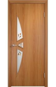 Двери Верда С-01 Миланский орех Стекло Сатинато с фьюзингом