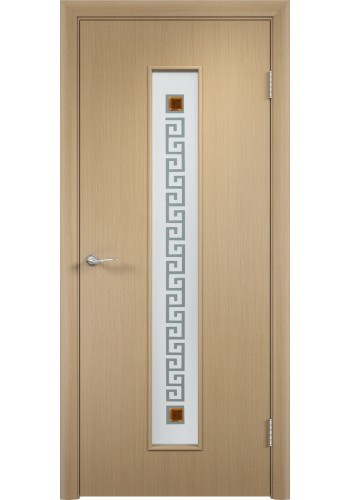 Двери Верда С-17 Беленый дуб Стекло Сатинато с фьюзингом квадрат
