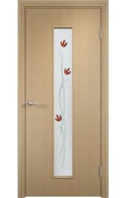Двери Верда С-17 Беленый дуб Стекло Сатинато с фьюзингом тюльпан